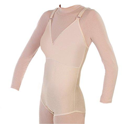 Compression Brief Shaper Bra for Women w/Wirefree Top No Zipper X-Sm BG (32BNZ) Beige