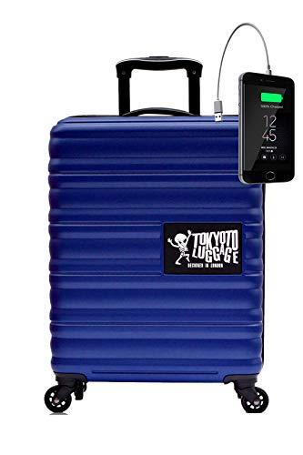 Maleta de Cabina Equipaje de Mano 55x40x20 Maleta Juvenil Trolley de Viaje Ryanair Easyjet Maleta de Viaje Rígida Blue (Preparada para Cargar Móviles) TOKYOTO Luggage (Maleta + Cargador)