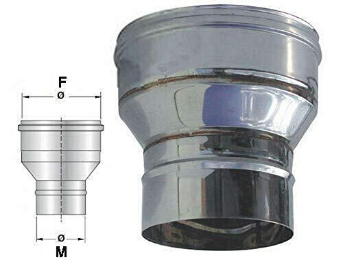 Riduzione e/o aumento di diametro in acciaio inox per canna fumaria (DN 100-150)