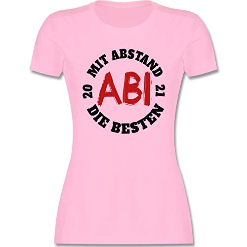 Abi & Abschluss - Abi - Mit Abstand die Besten 2021 - schwarz/rot - XXL - Rosa - Abitur 2021 - L191 - Tailliertes Tshirt für Damen und Frauen T-Shirt