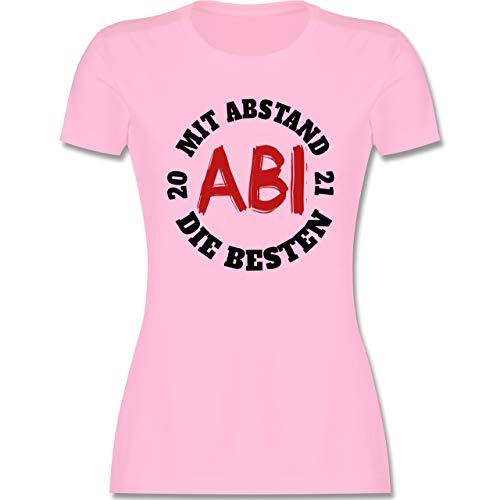 Abi & Abschluss - Abi - Mit Abstand die Besten 2021 - schwarz/rot - XL - Rosa - Statement - L191 - Tailliertes Tshirt für Damen und Frauen T-Shirt