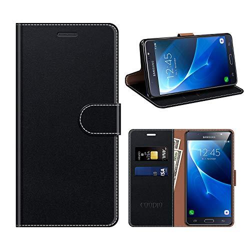 COODIO Samsung Galaxy J7 2016 Hülle Leder, Galaxy J7 2016 Kapphülle Tasche Leder Flip Cover Schutzhülle Rugged für Samsung Galaxy J7 2016 Handyhülle, Schwarz