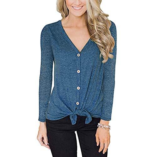 ZuzongYr - Camisetas para mujer, cuello en V, manga larga, parte superior (S-3XL) azul XXXL