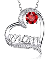 "Valentine's Day Jewelry Birthday Gifts for Mom January Birthstone Created Red Garnet Necklace for Mother I Love You Mom Love Heart Jewelry for Wife Sterling Silver 20"" Chain by Dorella"