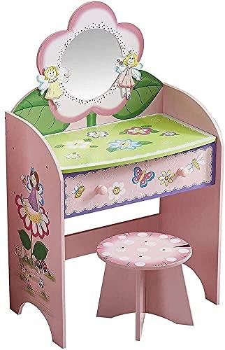 PIVFEDQX Escritorio de Maquillaje con cajones para Dormitorio Juego de tocador Infantil con cajones, Tocador de Maquillaje de Princesa de Madera para niños con Espejo y Taburete Navidad