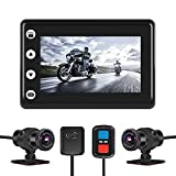 VSYSTO Motorcycle Dash Cam Camera 1080p Dual Lens Super Wide Angle 170° Sportbike Recording DVR Motorcycle Camera with 3'' IPS Screen Night Vison Loop Recording GPS Mode WiFi