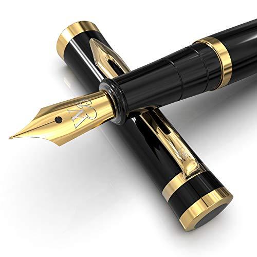 Wordsworth & Black Penna Stilografica Con Set - Penna Con Pennino Medio - Include 6 Cartucce D'Inchiostro, Un Converter Per Inchiostro E Una Custodia Regalo Di Lusso