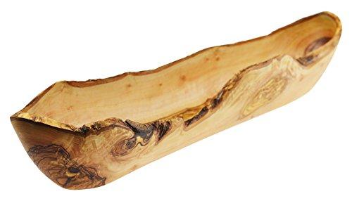 Olive Wood Rustykalne naczynie na chleb/owoce, drewno, ziarno/naturalne, 45 x 10 x 6 cm