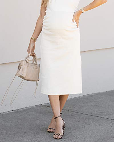 The Drop Women's Whisper White Fitted Midi Skirt by @sivanayla