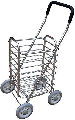 Pkfinrd Carrito de compras plegable de 4 ruedas para carro de compras ligero para la movilidad del mercado de lavandería