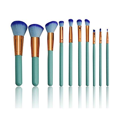 YLiansong Pinceau Fond de Teint, Maquillage Débutants Spécial 10 Bleu Poignée en Bois Cosmétique Manches Brosse 10 Pcs Maquillage Brosse idéal pour Le modelage, l'ombrage
