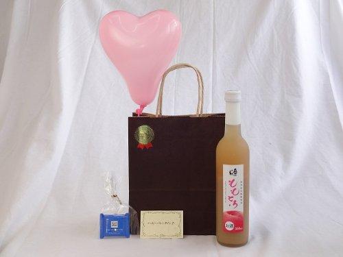 お誕生日 ( 完熟桃のとろとろ感が口いっぱいに広がる桃リキュール ももとろ 500ml(福島県)) メッセージカード ハート風船 ミニチョコ付き