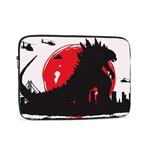 Monster Godzilla Famous Movie Japanische Laptop-Tasche,Laptop-Hülle,Polyester Universal-Hülle Reißverschluss Notebook Schutzhülle,Schwarz 12 Zoll