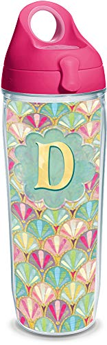 Tervis 1322043 INITIAL-D Multicolored Scallop Insulated Travel Tumbler with Wrap and Passion Pink Lid, 24oz Water Bottle - Tritan, Clear