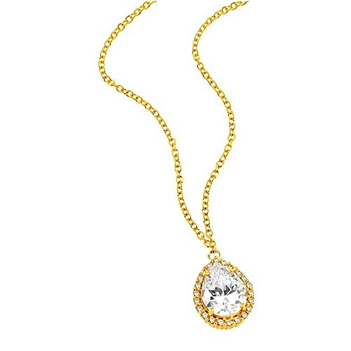 aion Tropfen Anhänger mit Kette Gold 750 Gelbgold 18K Syntht Diamant Damen Collier 45-50cm