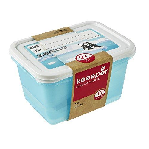 keeeper Tiefkühldosenset 2-teilig, Wiederbeschreibbarer Deckel, 2 x 2 l, 20,5 x 15,5 x 10,5 cm, Mia Polar, Eisblau Transparent