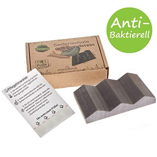TreeBox Moderne Seifenschale aus natürlichem Sandstein - Inkl. 4 Antirutschfüßen aus Silikon - Perfekt geeignet für Bad und Küche - Umweltfreundliche Seifenablage