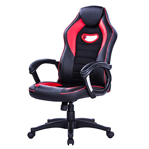 LIANFENG Racing Style High Back Leather Gaming Office Chair, Ergonomic Swivel Computer Desk Chair with Headrest and Armrest for Home and Office, Red chair gaming red