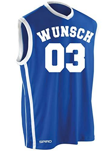 Coole-Fun-T-Shirts Wunschnummer + Name Basketball Bundle Trikot Tank Shirt + Hose S M L XL XXL 3XL 4XL Schwarz, Blau, Rot Teamshirt Personalisierbar (Blau, M)