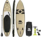 Atoll 11' Foot Inflatable Stand Up Paddle Board (6 Inches Thick, 32 inches Wide) ISUP, Bravo Hand Pump and 3 Piece Paddle, Travel Backpack and Accessories New Leash Included
