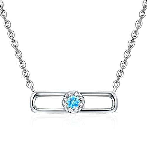 sararui Collares Mujer Clavícula Cadena de Las Mujeres Collar Colgante de Plata Azul del Topaz 925 con 18 Pulgadas Cadena de Plata Collares Colgantes