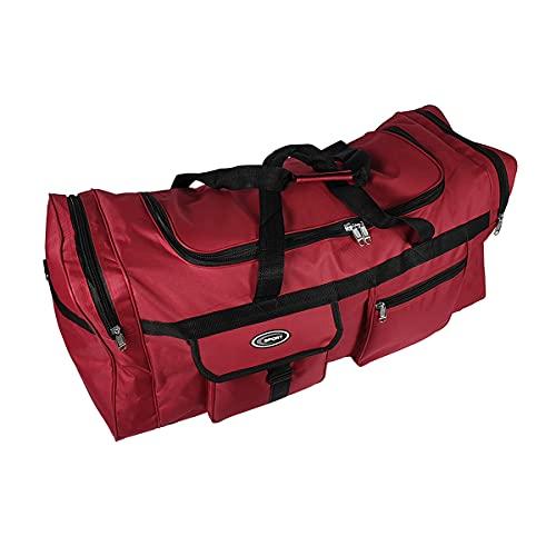 Bolsa de Deporte Grande XL de 110L. Maleta para Deporte, Gimnasio, Viaje, Camping, almacenaje. Impermeable. (Rojo)