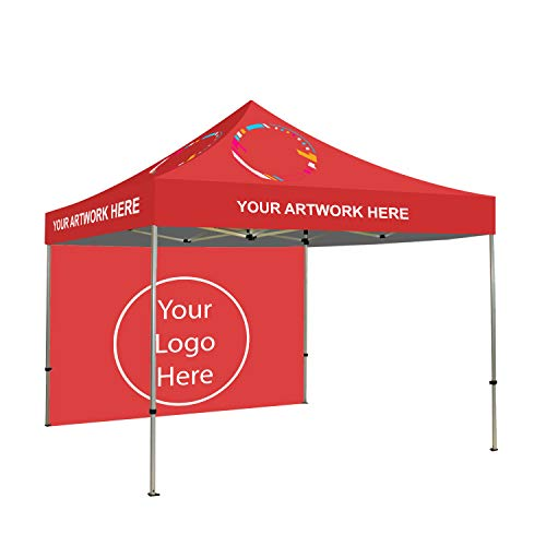 BANNER BUZZ MAKE IT VISIBLE 6x6 Custom Ez Pop Up Canopy Tent Back Wall Single Side Print Instant Shelter Portable Pop Up Canopy Tent with Wheeled Carry Bag