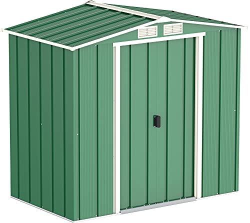 Duramax ECO 6 x 4 Hot-Dipped Galvanized Metal Garden Shed - Tool Storage Shed - Green with Off-White Trimmings - 15 Years Warranty