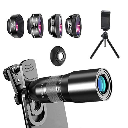Phone Camera Lens Phone Lens Kit 9 in 1, Odder-spot 25X Telephoto Lens, 120° Wide Angle Lens, 20X Macro Lens, Star Mirror, Nano HD CPL, Compatible with iPhone 8 7 6 6s Plus X XS XR Samsung
