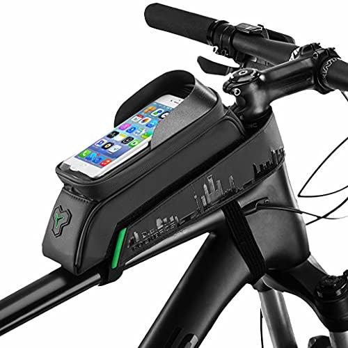 YZX Bolsa Bicicleta, Bolsa de sillín de Tubo Superior para Bicicleta de montaña al Aire Libre, Pantalla táctil Impermeable para teléfono, Bolsa de viga Delantera para Ciclismo,25.5×6.5×13.5cm