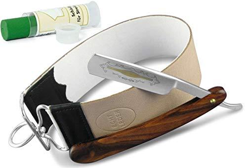 Herren Beginner Rasiermesserset mit Echt Holz Griff Rasiermesser und einer Solingen Schärf Schleifpaste