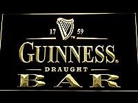 Guinness Draught Beer Bar LED看板 ネオンサイン ライト 電飾 広告用標識 W60cm x H40cm イエロー