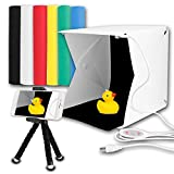 撮影ボックス 撮影キット カメラ スマホ用 スタジオ 2LEDライト40PCS 写真撮影 光り調整可能 USB給電 背景布6色 ボタン式 折り畳み ミニ三脚付属 持ち運び便利 22 * 23 * 24cm Innens