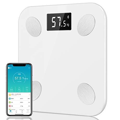 JUMPER 体重计 体脂肪・体组成计 附有高精度传感器LED显示,180kg / 400lb,iOS及Android应用兼容性 (ホワイト)