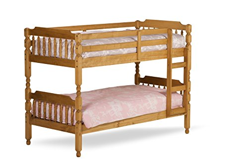 Single 3'0 Spindle Bunk Bed in Waxed Colour with 2 x Flex 1000 Mattresses