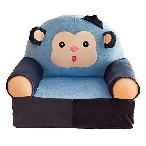 Riarevt Cartoon Animal Children's Sofa, Sofa Plush Toy, Sitting Posture Early Education Small Sofa, Cartoon Children's Sofa, Children's Birthday Gift, Often Used in Homes, kindergartens (Blue Monkey)