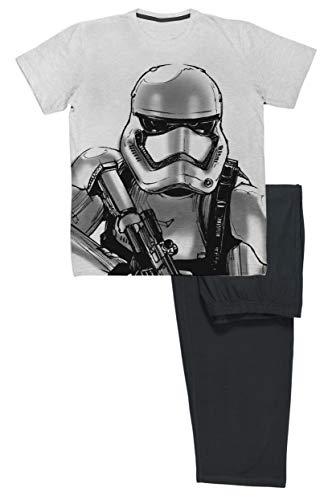 Star Wars Herren Long Pyjama Set Baumwolle (Grau schwarz, Medium)