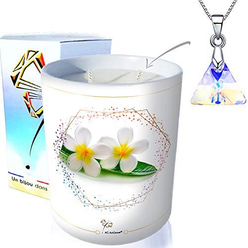 ArtGosse Vela con joya decorada con cristales de Swarovski® • Vela con 2 mechas de cera vegetal perfumada monoï de Tahití • Caja regalo sorpresa • Colgante triángulo