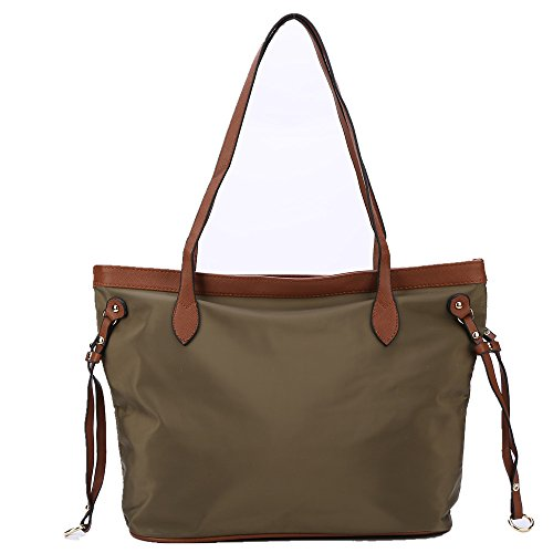 Fashion Nylon Tote Bag With Leather Handles Women Light Weight Daily Shoulder Bag (Olive)