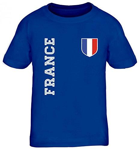 Frankreich Fußball WM Fanshirt Gruppen Kinder T-Shirt Rundhals Mädchen Jungen Fan Trikot France, Größe: 110/116,royal blau