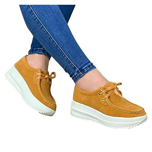 Winging zapatillas deporte casuales para Mujer Pisos Zapatos de cuero Mocasines planos fondo suave sin cordones Otoño más tamaño plataforma con estilo europeo de Color sólido