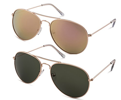 Stylle Classic Aviator Pilot Flat Lens Sunglasses with Protective Bag, 100% UV Protection