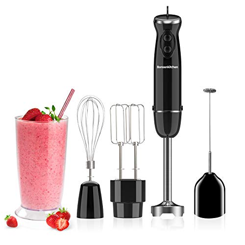 Multiple 400W Turbo 12 Speed Immersion Hand Blender Handheld Energy Saving 5-In-1, Stick Blender with Whisk, Egg&Cream Beater, Mearsuring Mug, Milk Frother, Emulsion Mixer For Smoothies, Purée, Sauce-BZ-US-HB8004
