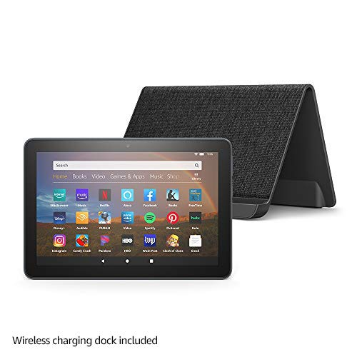 "All-new Fire HD 8 Plus tablet, HD display, 32 GB, our best 8"" tablet for portable entertainment, Slate + Made for Amazon, Wireless Charging Dock"