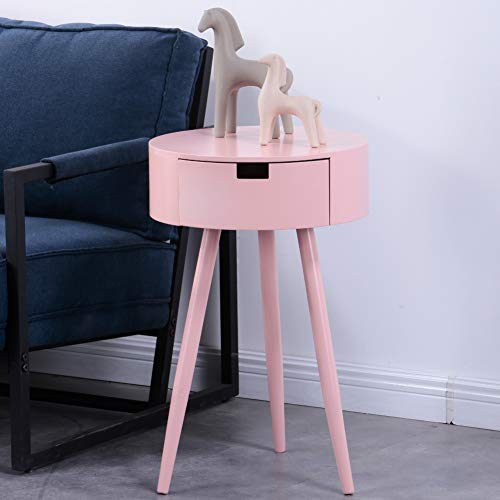 GOLDFAN Living Room Side Table Modern Coffee Table Bedside Table Night Stand With Drawer for Bedroom,Pink
