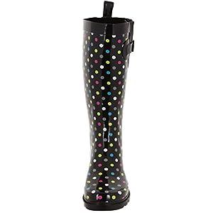 Capelli New York Ladies Shiny Small Dots Printed Tall Rainboot Black Combo 8