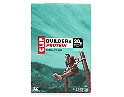 Clif Bar, Builder's Protein Bar, Chocolate Mint, 12 Bars, 2.40 oz (68 g) Each