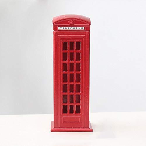Aleación de metal Contador de monedas Cambio de repuesto Londres Street Red Teléfono Cabina Banco de recuerdo Modelo Caja Tarro Piggy Bank Decoración
