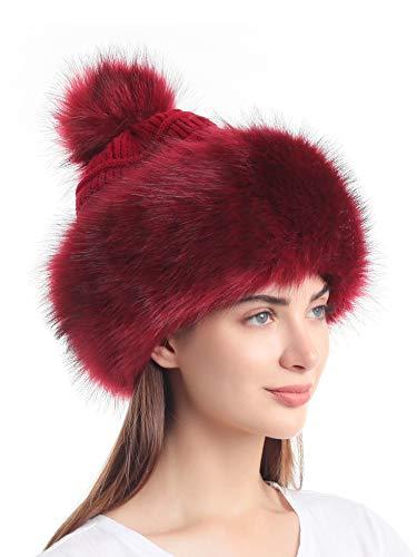 Soul Young Damen Kunstfell Mütze Schwarz Russische Kosak Knit Pompon Ski Schnee Cap für Winter Weiß - Rot - Einheitsgröße