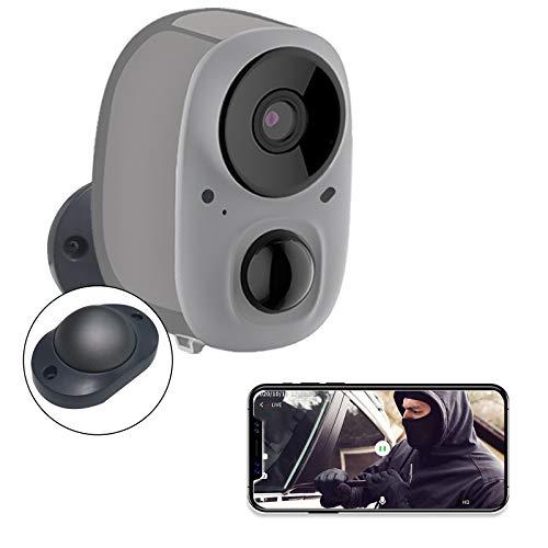 YIROKA Überwachungskamera Aussen WLAN Akku Solar Kabellos, mit AI Bewegungsmelder, 1080P IP Kamera, Aktivitätszone, Cloud-Speicher, Max. 128GB SD Karte, 5200mAh, 2,4GHz WiFi, IPX6 Wasserdicht, Grau